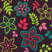 Floral seamless pattern and leaf — Stock Vector
