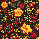 Tekstura z kwiatów i motyli. niekończące się kwiatowy wzór. — Wektor stockowy