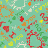 Romantic seamless pattern with butterflies. I love you — Stockvektor