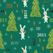 Christmas seamless pattern with rabbit holding carrot and Christmas tree — Stock Vector