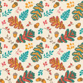 Seamless pattern with leaf and acorns — Stock Vector