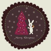 兔子胡萝卜圣诞节树附近举行圆架圣诞卡片 — 图库矢量图片