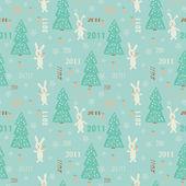 Textura de navidad sin fisuras con el conejo con zanahoria y árbol de navidad — Vector de stock