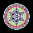 Indian ornament, kaleidoscopic floral pattern, mandala. — Imagen vectorial