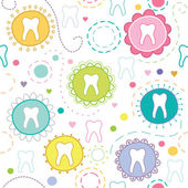 Cheerful seamless texture with cartoon teeth — Stock Vector