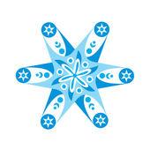 Laço decorativo redondo, floco de neve — Vetor de Stock