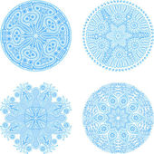 Indian ornament, kaleidoscopic floral pattern, snowflakes. Set of four ornament lace. — Stock Vector