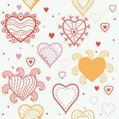 Romantische naadloze patroon met hart. — Stockvector