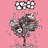 árbol original de san valentín — Vector de stock
