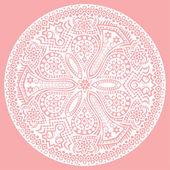 Tarjeta de invitación vintage en fondo rosa con adorno de encaje. — Vector de stock