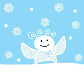 Illustration of angel under snowfall — Stock Vector