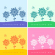 Set of four valentine's day card with flowers and butterflies — Imagen vectorial
