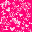 'I love you' seamless pattern with stylized bird, butterfly and flower — Vector de stock