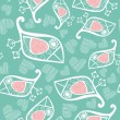 Romantic seamless pattern with stylized bird and heart. - Векторная иллюстрация