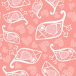 Romantic seamless pattern with stylized bird and heart. - ベクター素材ストック