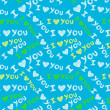 """I love you"" seamless pattern - 图库矢量图片"