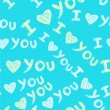 """I love you"" seamless pattern — ストックベクタ"