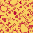 I love you seamless pattern — Stok Vektör