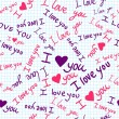 """I love you"" seamless texture with heart and butterfly on square paper — Vector de stock"