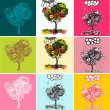 Set of stylized trees. Illustration in psychedelic style. — Stock Vector