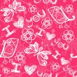 I love you seamless texture with heart and butterfly in pink.  — Imagen vectorial