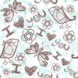 'I love you' seamless pattern with stylized bird, butterfly and flower on abstract background. — Stok Vektör
