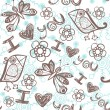 'I love you' seamless pattern with stylized bird, butterfly and flower on abstract background. — Vector de stock