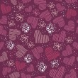 Romantic seamless pattern with hearts, and butterflies. — Imagens vectoriais em stock