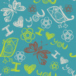 'I love you' seamless pattern with stylized bird, butterfly and flowers — 图库矢量图片