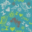 'I love you' seamless pattern with stylized bird, butterfly and flowers - Stock Vector