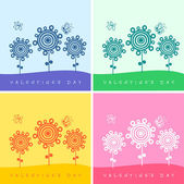 Set of four valentine's day card with flowers and butterflies — Stock Vector