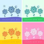 Набор четыре дня Святого Валентина карты с цветами и бабочками — Cтоковый вектор