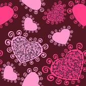 Padrão sem emenda romântico com corações. — Vetorial Stock