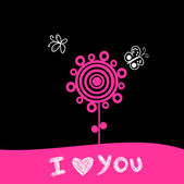 """""""I love you"""" romantic greeting card with flower and butterfly. — Stock Vector"""