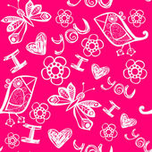 'I love you' seamless pattern with stylized bird, butterfly and flower — Stock Vector