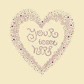 Valentine background, heart, vector illustration with place for your text — Vecteur