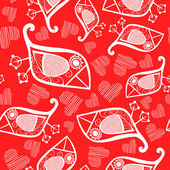 Romantic seamless pattern with stylized bird and heart. — Stock Vector