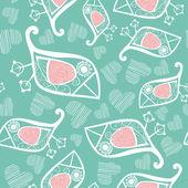 Padrão sem emenda romântico com pássaro estilizado e coração. — Vetorial Stock
