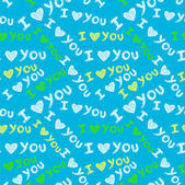 """I love you"" seamless pattern — Stock Vector"