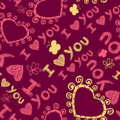 """I love you"" seamless pattern — Vector de stock"