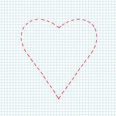 Serce na kwadratowych papieru. — Wektor stockowy