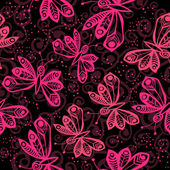 Romantic butterfly seamless pattern with vintage background. — Stock Vector