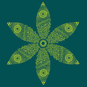 Cute ornamental flower on green — Vector de stock