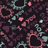 Romantic seamless pattern. I love you. — Stok Vektör