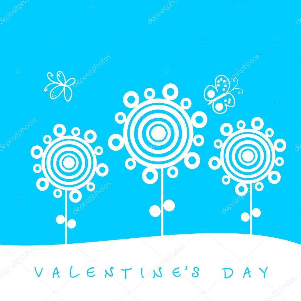 Valentine's day card with flowers and butterflies — Stock Vector #21227353