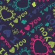 Romantic seamless texture with hearts and butterflies. I love you. — Image vectorielle