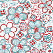 Seamless texture with flowers and butterflies. Endless floral pattern — Stock Vector