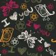 I love you seamless pattern with butterflies and birds in pink — 图库矢量图片