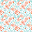 Summer floral seamless pattern with flowers and leafs. — Stock Vector