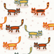 Seamless pattern with cartoon cats — Stock Vector